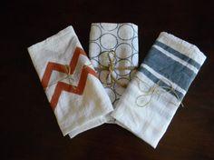 Painted Tea Towels via Etsy