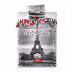 This pretty Paris With Love Single Duvet Cover Set has a Parisienne theme that features the Eiffel Tower, River Seine and the Louvre. Free UK delivery available Vintage Paris Bedroom, Vintage Bedding Set, Single Duvet Cover, Duvet Cover Sets, Tour Eiffel, Paris City, Parisian, Tent, Pillow Cases