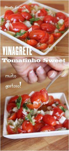 Vinagrete de Tomatinho Sweet, inove no molho da salada, substituindo o tradicional tomate pelos adocicados tomatinhos sweet. Eles dão uma leveza e harmoniza, bem o ardidinho da cebola. Vinagrete combina com tudo! Bom para acompanhar o churrasco, o cachorro quente, aquela carne assada, salada ... Um sonho de tão gostoso!
