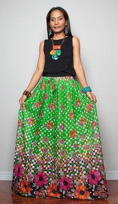 446cfdf0e8ba1 Floor Length Skirt Boho Maxi Skirt Feel Good by Nuichan on Etsy