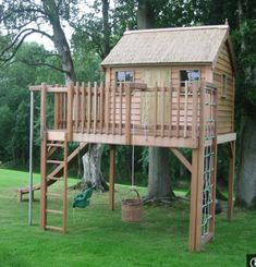 Cubby house inspiration - don't like the swing, but love the different climbing options!