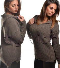Maxi maglione felpa donna scollo a V cappuccio   My Vida #fashion #fashionista #love #shopping #shoppingonline #me  #followme #style #tagforlike #girl #moda #unique #ootd #stylish #top #sexy black #nero #clothing #fashionblog #fashiondiaries
