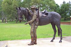 Memorial to the Australian Light Horse (Tamworth Waler Memorial). Bronze statue of an Australian WW1 trooper saying farewell to his Waler horse (a mare is shown) in the deserts of the Middle East. The statue was sculpted by Tanya Bartlett of Newcastle. None of the horses who were shipped overseas  returned to Australia.