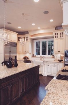 No chandeliers, not sure about white cabinet doors                                                                                                                                                      More Kitchen Lighting Fixtures, Little Kitchen, Luxury Kitchens, Home Kitchens, Kitchen Cabinet Colors, Kitchen Decor, Kitchen Layout, Kitchen Colors, Kitchen Ideas