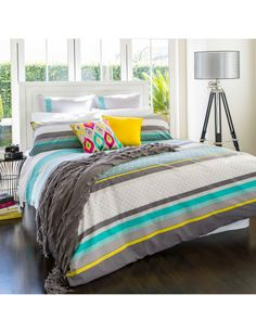 Update your bedroom decor with the cool colours of the Irazie duvet cover set by Keiko.