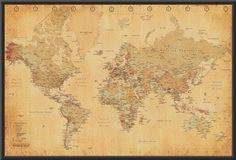 Art vintage world map mapsglobes pinterest vintage map generic vintage world map maps giant poster print college giant poster print gumiabroncs Choice Image