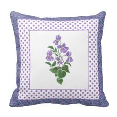 A pretty Throw Pillow or Cushion, with a motif of Violets, one of the February Birth Month Flowers, from a watercolour painting by Judy Adamson, bordered by a matching ditsy Violets Pattern and Polka Dots. For greater flexibility, the reverse of the pillow is also Ditsy Violets. Part of the Posh & Painterly 'Sweet Violets' collection: up to $35.95 - http://www.zazzle.com/pretty_pillow_cushion_violets_and_polka_dots-189491870660587458?rf=238041988035411422&tc=pintw