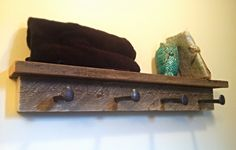 Barn wood and rail road spike towel hanger