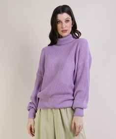 Suéter Feminino em Tricô Oversized Gola Alta Lilás - cea Turtle Neck, Sweaters, 1, Outfits, Fashion, Purple Colors, Turtleneck, How To Dress Cool, Top Coat