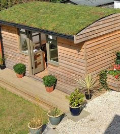 Curved grass green roof shed garden room outbuilding