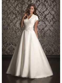 Short Sleeve Lace Bodice A-Line V-Neck Satin And Organza Chapel Trailing Bridal Gowns