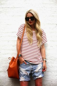 Atlantic-pacific.com #casual #red #stripes #marinière #rips #denim #jeans #shorts