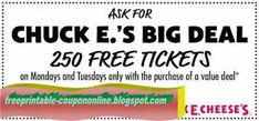 Chuck E Cheese Coupons Promo Coupons will expired on MAY 2020 ! About Chuck E Cheese With Chuck E. Cheese coupons, you can have fun . Free Mcdonalds Coupons, Kfc Coupons, Pizza Coupons, Shopping Coupons, Online Coupons, Grocery Coupons, Discount Coupons, Pizza Hut Coupon Codes, Chicken Blt