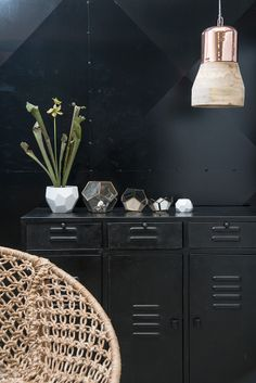 9d80715c0 love black lockers on a black wall with copper lighting and natural fibers  for brightness. Nordic Day · Madam Stoltz