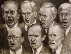 """'Men's Chorus', 2012,  charcoal and pastel on paper,  42"""" x 54"""" by Jane Fisher"""