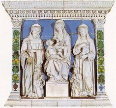 Bottega di Andrea della Robbia (1435-1525)  Madonna col Bambino tra san Giovanni Gualberto e la beata Umiltà  terracotta invetriata proveniente dalla Cappella della Fonte.