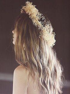 Baby Breath Flower Crown, Babys Breath Flowers, Boho Wedding, Wedding Day, Corona Floral, Rock Chic, Her Hair, Bridal Hair, Wedding Hairstyles