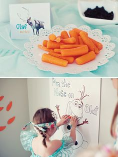 pin the carrot nose on Olaf birthday party game