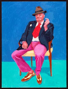 This greetings card features David Hockney RA's technicolour portrait of Barry Humphries, currently in the Royal Academy's 'David Hockney: 82 Portraits and 1 Still-life' exhibition. David Hockney Portraits, David Hockney Art, David Hockney Paintings, Peter Blake, Barry Humphries, Amédéo Modigliani, Jenny Saville, Guggenheim Bilbao, Pop Art Movement