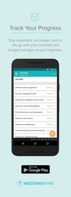Manage your wedding checklist, budget, count down & more... from your phone!