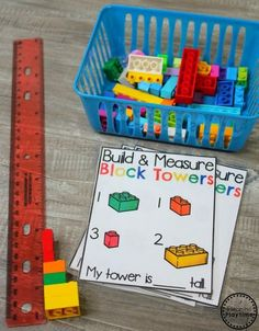 Measurement Worksheets Build and Measure - Data and Measurement Activities for Kindergarten math Measurement Kindergarten, Measurement Worksheets, Kindergarten Math Activities, Math Games, Teaching Math, Preschool Activities, Measurement Games, Teaching Numbers, Educational Activities