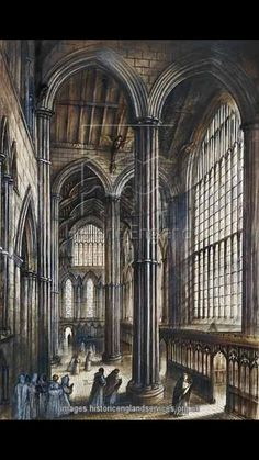 Middle Ages Fountain Beautiful Places Illustration Gothic Architecture British Artists Cathedrals Wales Clouds