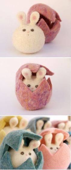 Felted easter bunny, aren't these the cutest? #easter #decoration #ideas