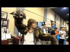 Wood Splitter Lee Cross with her puppet dragon 'Willow'. (love her creations. they're so amazing)