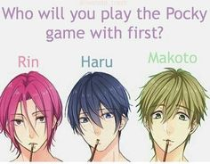 Pocky game HARU THEN RIN THEN MAKOTO