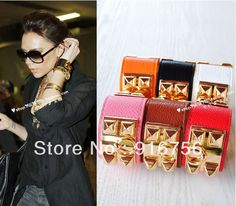 Fashion Jewelry cool spike brand Punk Studs Pyramid Faux Leather Wristband Charm Bangles h Bracelet-in Special Store from Jewelry on Aliexpress.com