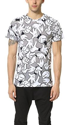 """Crew Neck Short Sleeve Mickey Mouse Hands All-Over T-Shirt Eleven Paris x Disney Collaboration - Life is a Joke Mens Collection Fits True to Size - Our Fit Model Wears a Size M and is 6"""" Tall"""