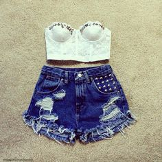 -cute bejeweled white lace bustier, high waisted ripped denim shorts summer outfit-