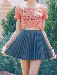lace top with leather skirt