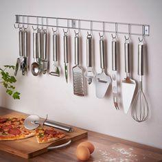 VonShef 12 Piece Stainless Steel Kitchen Utensils & Gadget Set with Utensil Hanging Rack / Bar / Holder