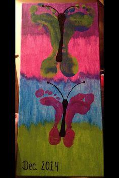 Beautiful butterfly feet on canvas