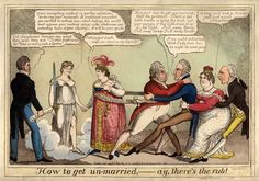 George IV's attempt to divorce Queen Caroline following her return to England in June 1820 provoked a flood of hostile caricatures. Here the King and Queen are tied by the 'Matrimonial knot'. On the left stand Justice and Henry Brougham, the brilliant young Whig lawyer who represented her case. One the right Lord Sidmouth, the Home Secretary, tugs at Lady Conyngham, the King's former mistress, whose arms are round Lord Castlereagh, the Foreign Secretary.