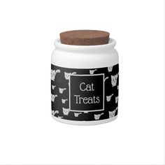 Shop Black & White Kitty Pattern Candy Jar created by thepawkinglot. Custom Candy, Creature Comforts, Cat Treats, Having A Blast, Hard Candy, Candy Jars, Pet Shop, White Porcelain, Kittens Cutest