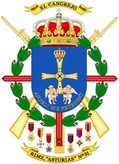 Archivo:Coat of Arms of the Mechanized Infantry Regiment Asturias. Army History, Military Insignia, Mystery Of History, West Indies, Coat Of Arms, Warfare, Animal Kingdom, Spanish, Flag