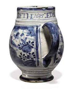 A London Delft named and dated blue and white chinoiserie mug. 1635, Southwark, probably Pickleherring Quay