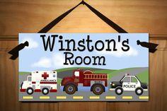 Rescue Heros Ambulance Firetruck Police Car Boys Bedroom DOOR SIGN Baby Nursery Kids Wall Art on Etsy, $15.00