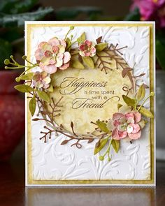 card with flowers - Spring Wreath...