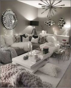 Who doesn't want to have an elegant living room in their home? Check these astonishing elegant living room ideas just for you and your dream living room! Cute Living Room, Living Room Decor Cozy, Interior Design Living Room, Living Room Designs, Silver Living Room, Decor Room, Living Area, Living Room Remodel, Apartment Living