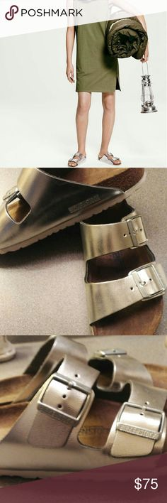 Birkenstock Arizona Sandals Metallic silver leather and suede lining.  Preloved and worn a couple of times so you can custom to your fit.  Retail $140 plus tax.  Timeless.  A fashion staple! Adjustable straps.  Lightweight sole for cushioning and shock absorption. Birkenstock Shoes