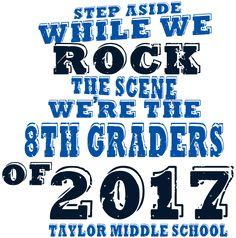 IZA DESIGN custom eighth grade graduation shirts.  8th Grade Graduation T-Shirt Design - Statement (clas-787x1).  Specializing in custom eighth grade graduation tshirts for 30 years.  Go Class of 2017!