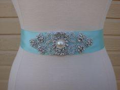 Ola - Bridal Sash - Wedding Dress Sash Belt -Tiffany Inspired Aqua Blue Rhinestone Sash - Aqua Rhinestone Bridal Sash