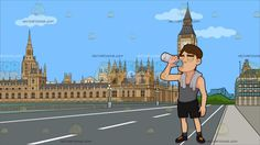 A Guy Drinking Water To Hydrate Himself After His Workout At Big Ben And House Of Parliament:  A man with light brown hair wearing a gray sleeveless top black shorts gray socks black rubber shoe with yellow shoelaces a white towel around his shoulders closes his eyes while drinking water from the transparent bottle in his right hand. Set in a view of big ben and house of parliament along a stretch of a gray road of the westminister bridge during a clear sunny day .