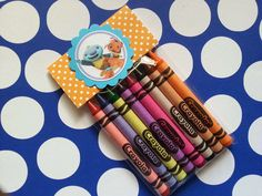6 Wally Kazam crayons party favor, also available Shopkins, Elmo, doc mcstuffins, tangle, pinkalicious, cinderella, abby cadabby and more... by bellecaps on Etsy