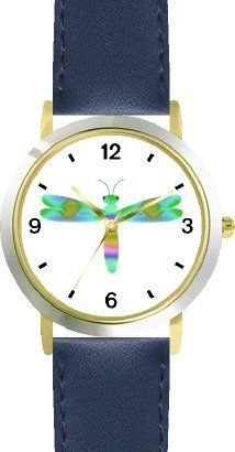 Multicolored No.3 Dragonfly or Dragon Fly - JP - WATCHBUDDY® DELUXE TWO-TONE THEME WATCH - Arabic Numbers - Blue Leather Strap-Size-Children's Size-Small ( Boy's Size & Girl's Size ) WatchBuddy. $49.95