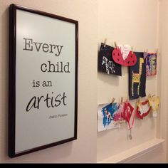 hang art wire and frame Picasso's famous quote Holiday Crafts For Kids, Diy For Kids, Hanging Kids Art, Main Library, Kids Play Area, Barbie Dream House, Teacher Quotes, Craft Activities For Kids, Kid Spaces