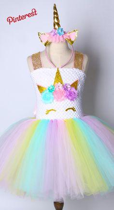 ae9ee663e Niños Chicas Vestido Tutu Rainbow Unicorn Princesa del Cumpleaños De los  niños Chicas Vestido de Fiesta de Navidad de Halloween Traje de Cosplay Pony